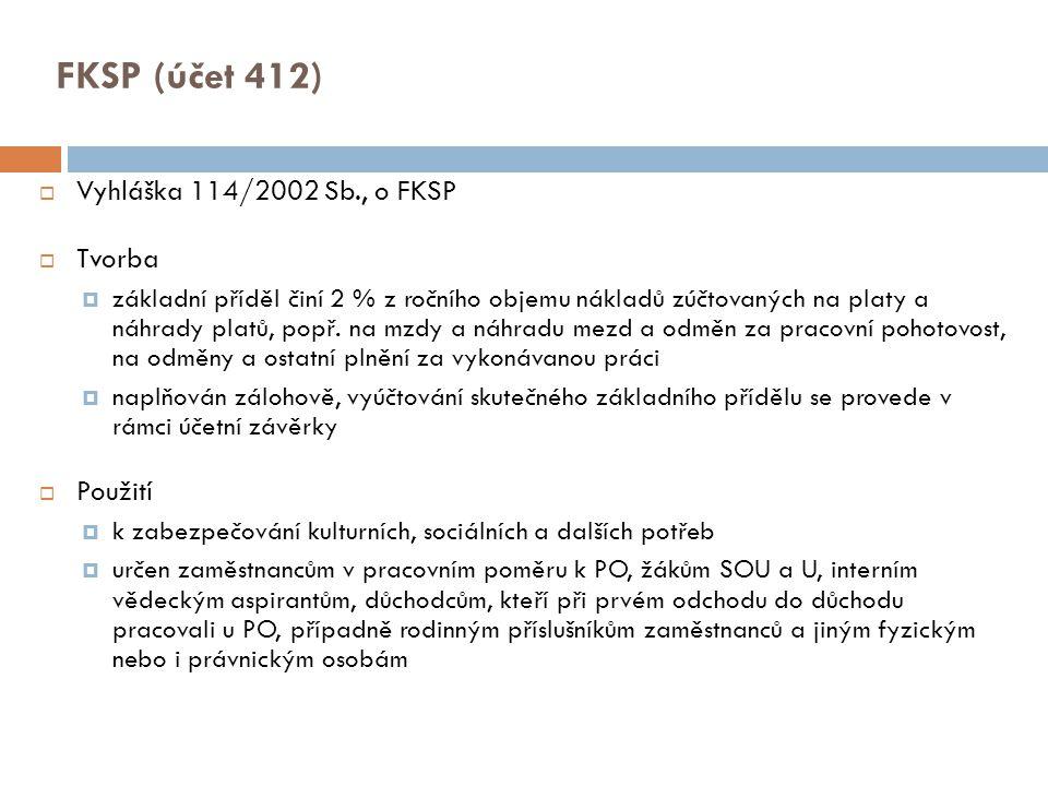 FKSP (účet 412) Vyhláška 114/2002 Sb., o FKSP Tvorba Použití
