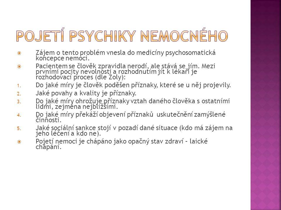 Pojetí psychiky nemocného