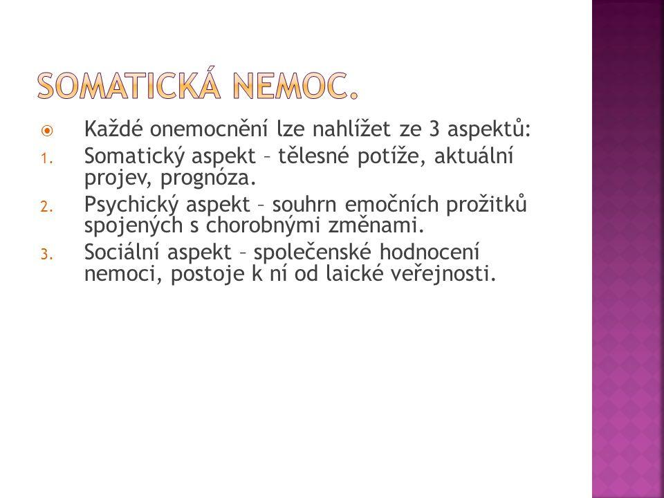 Somatická nemoc. Každé onemocnění lze nahlížet ze 3 aspektů:
