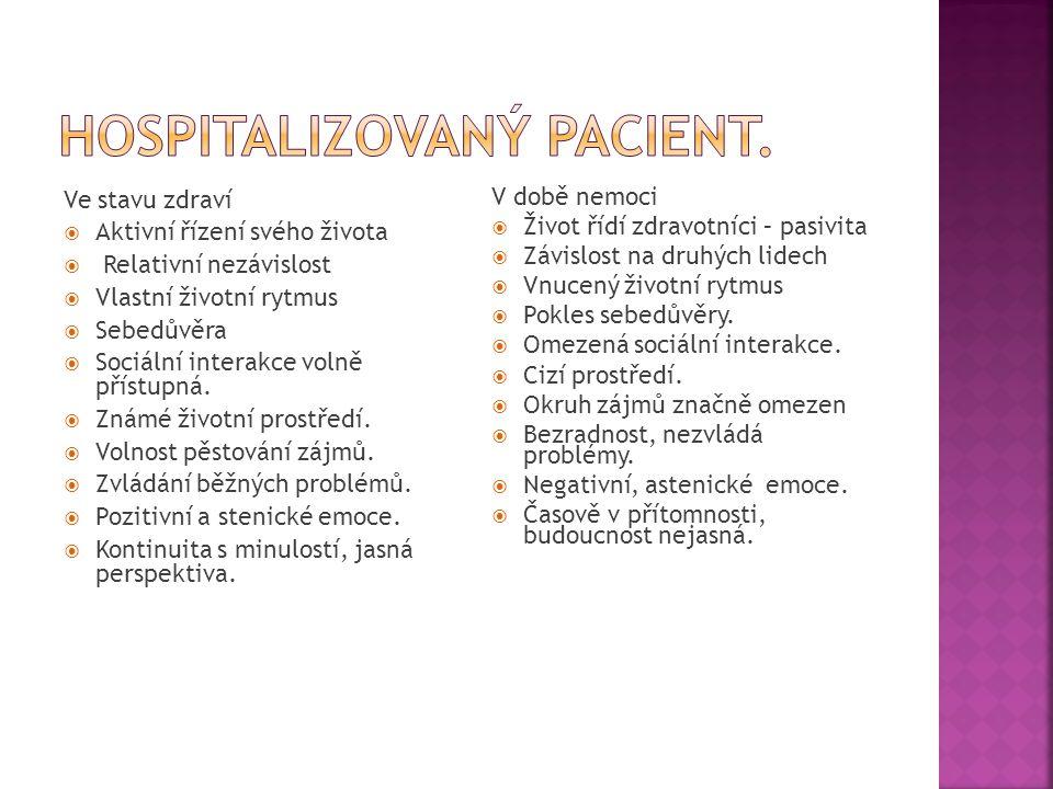 Hospitalizovaný pacient.
