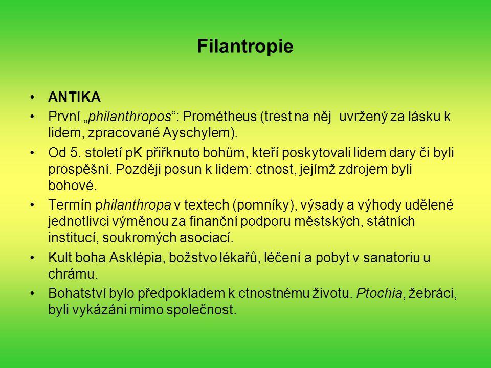 """Filantropie ANTIKA. První """"philanthropos : Prométheus (trest na něj uvržený za lásku k lidem, zpracované Ayschylem)."""