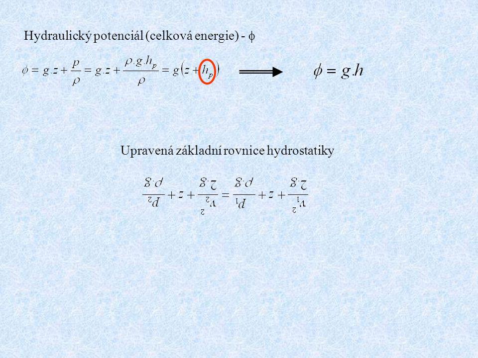 Hydraulický potenciál (celková energie) - f