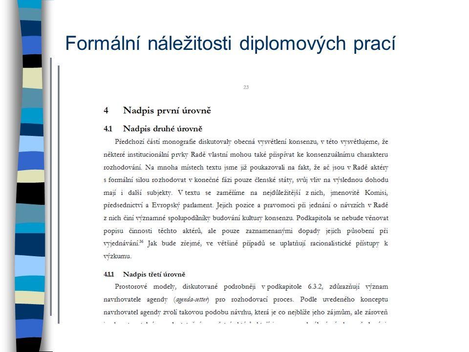 Formální náležitosti diplomových prací