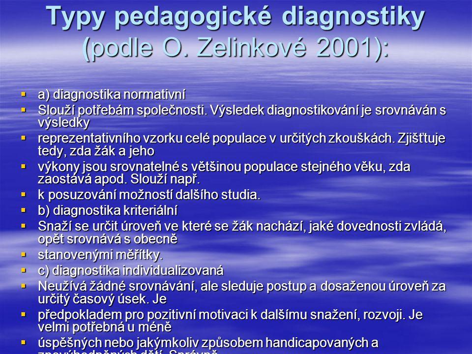 Typy pedagogické diagnostiky (podle O. Zelinkové 2001):