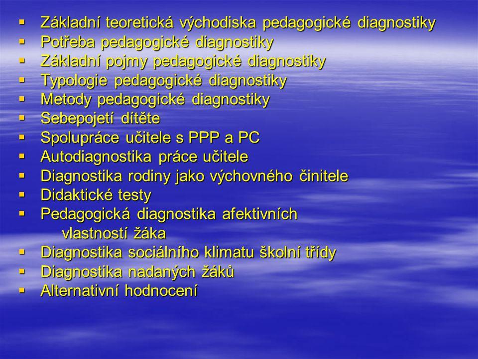 Základní teoretická východiska pedagogické diagnostiky