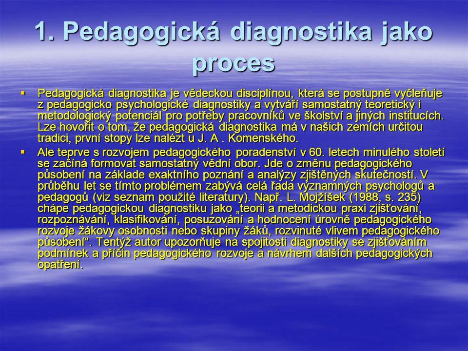 1. Pedagogická diagnostika jako proces