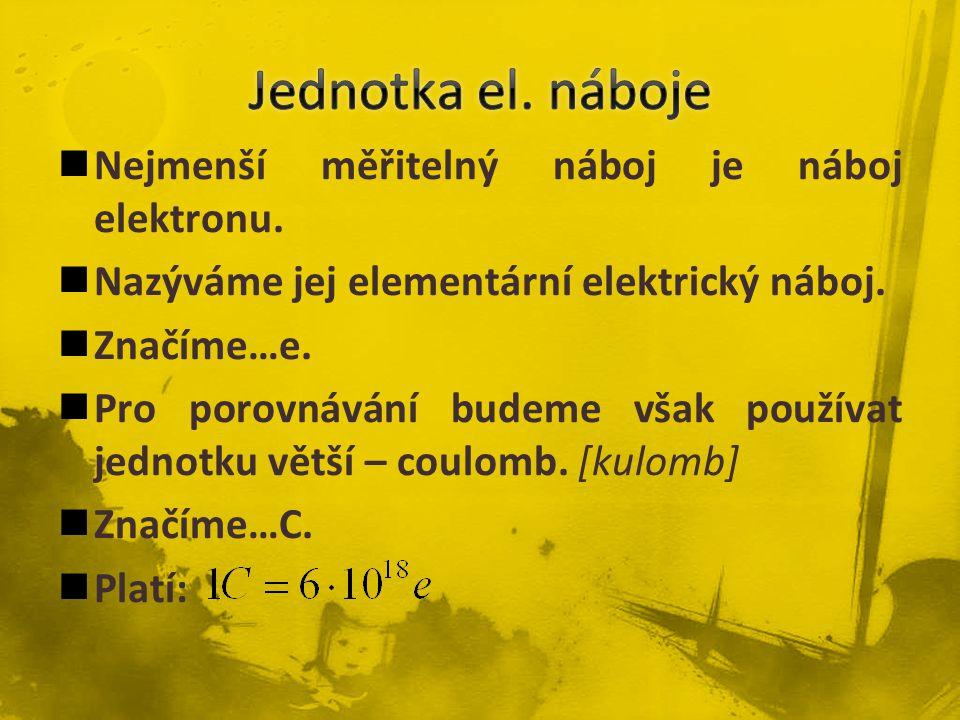Jednotka el. náboje Nejmenší měřitelný náboj je náboj elektronu.