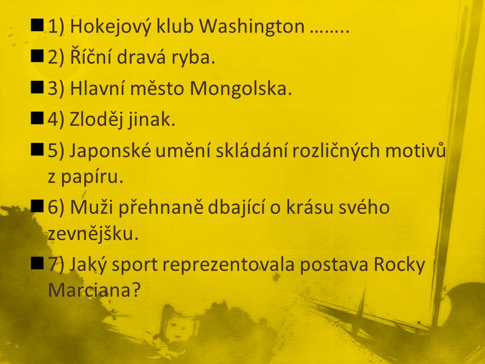 1) Hokejový klub Washington ……..