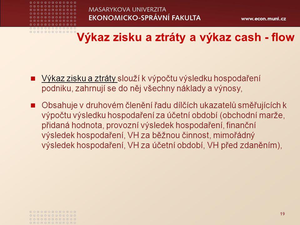 Výkaz zisku a ztráty a výkaz cash - flow