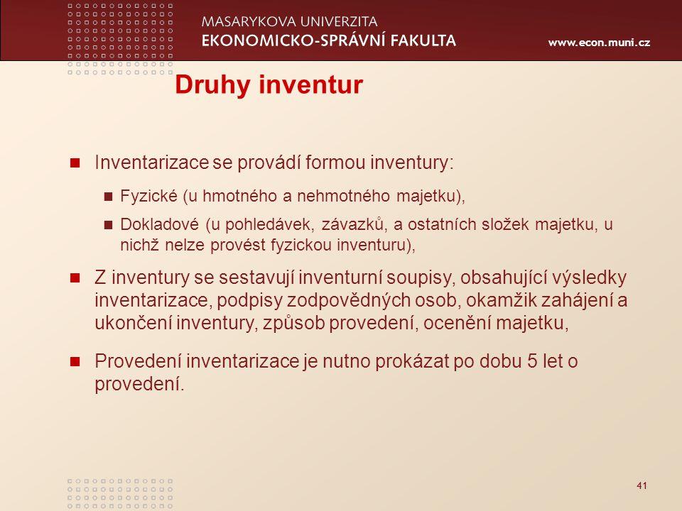 Druhy inventur Inventarizace se provádí formou inventury: