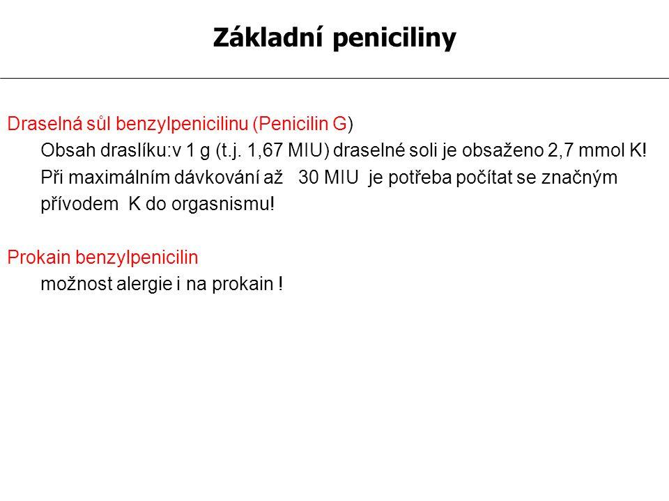 Základní peniciliny Draselná sůl benzylpenicilinu (Penicilin G)