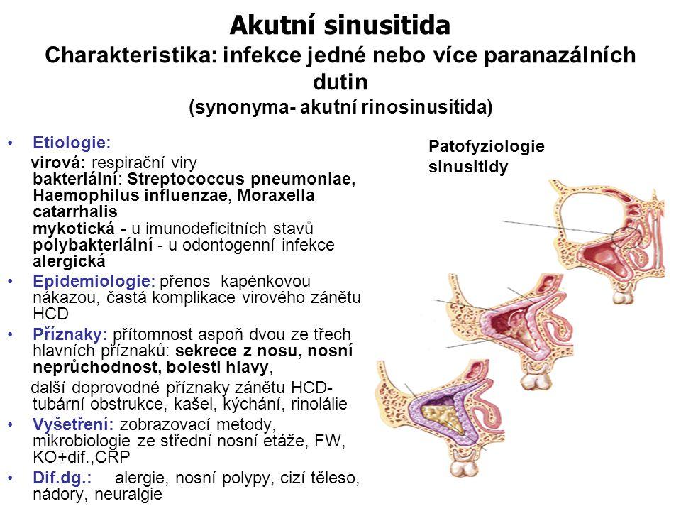 Akutní sinusitida Charakteristika: infekce jedné nebo více paranazálních dutin (synonyma- akutní rinosinusitida)