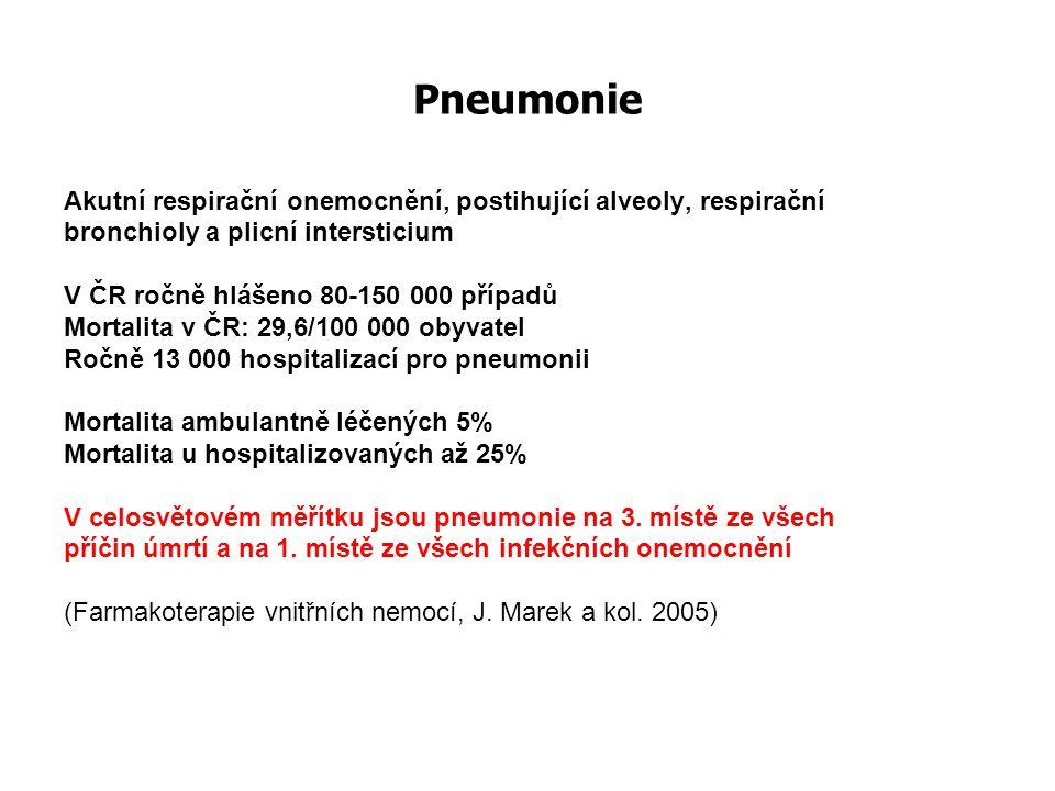 Pneumonie Akutní respirační onemocnění, postihující alveoly, respirační. bronchioly a plicní intersticium.