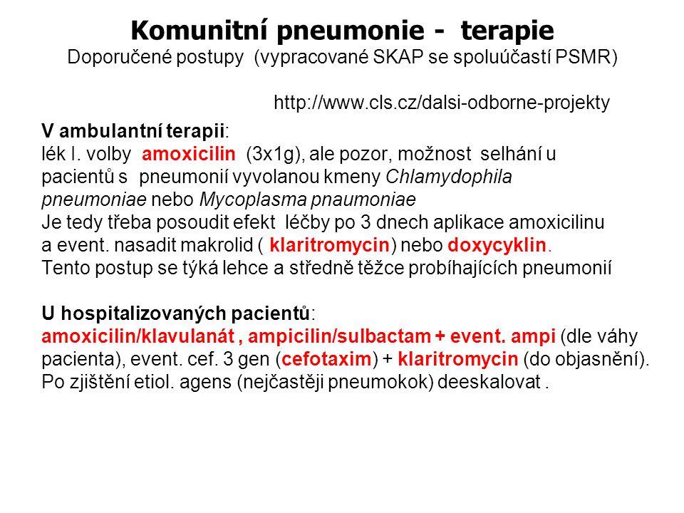 Komunitní pneumonie - terapie Doporučené postupy (vypracované SKAP se spoluúčastí PSMR) http://www.cls.cz/dalsi-odborne-projekty