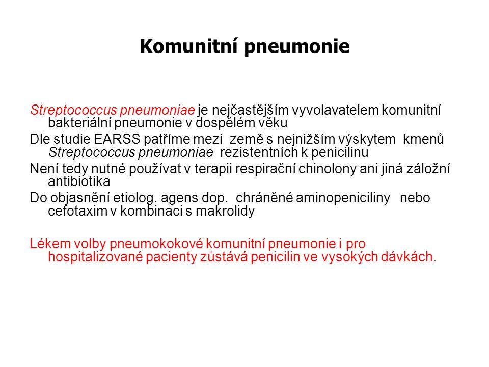 Komunitní pneumonie Streptococcus pneumoniae je nejčastějším vyvolavatelem komunitní bakteriální pneumonie v dospělém věku.