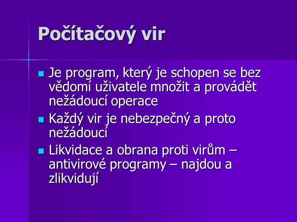 Počítačový vir Je program, který je schopen se bez vědomí uživatele množit a provádět nežádoucí operace.