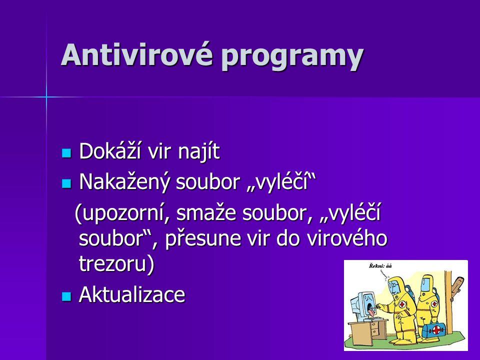 """Antivirové programy Dokáží vir najít Nakažený soubor """"vyléčí"""
