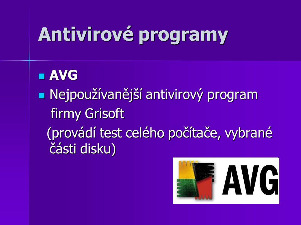 Antivirové programy AVG Nejpoužívanější antivirový program
