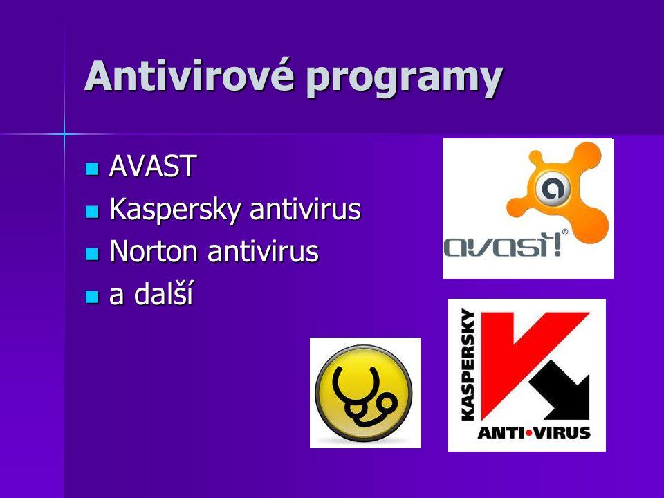 Antivirové programy AVAST Kaspersky antivirus Norton antivirus a další