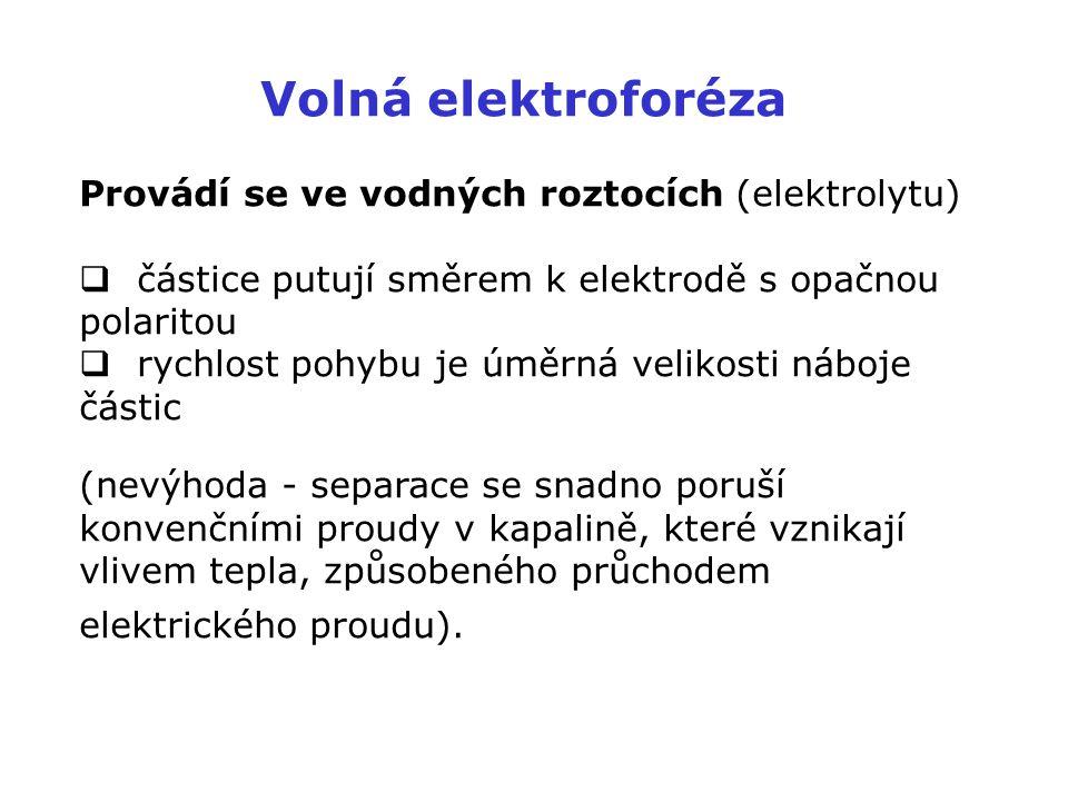 Volná elektroforéza Provádí se ve vodných roztocích (elektrolytu)