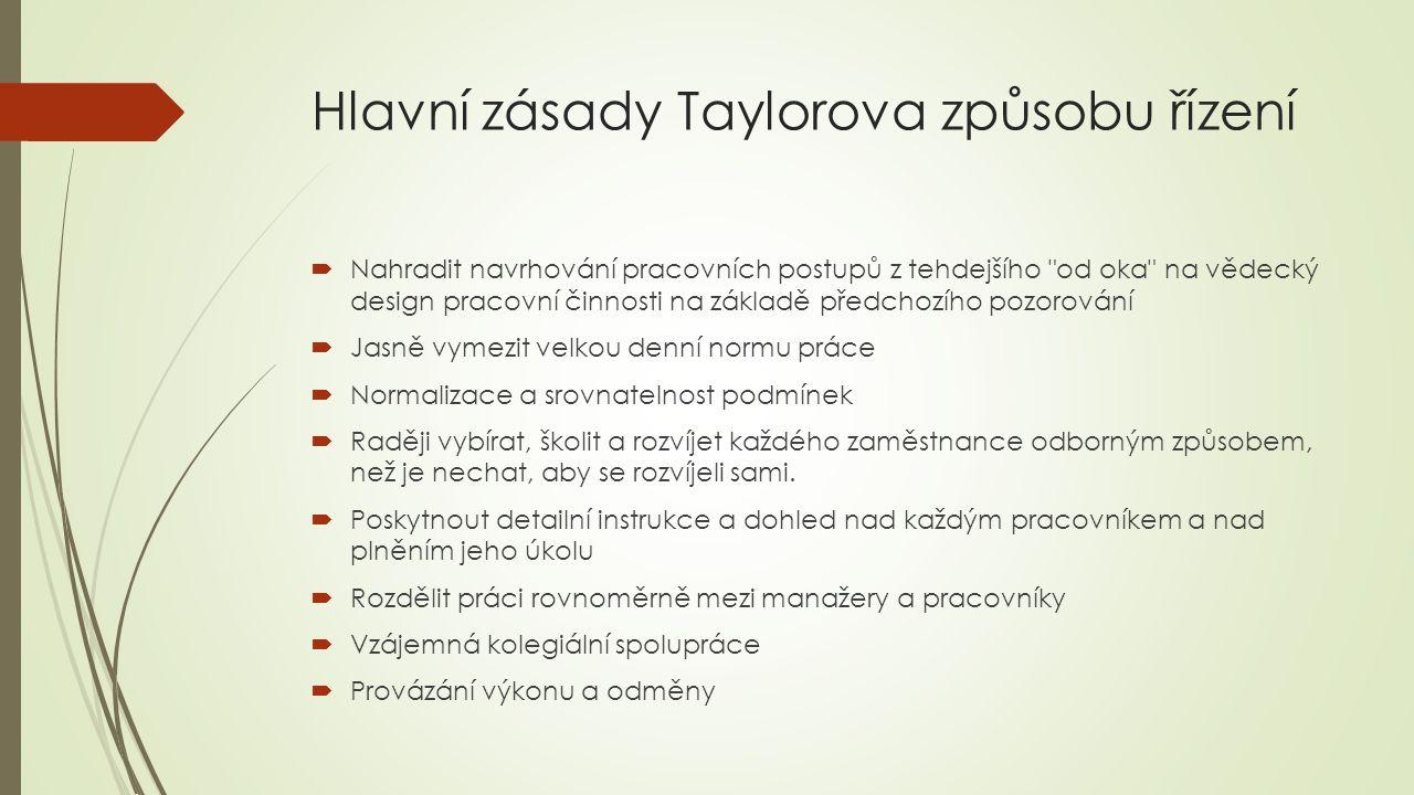 Hlavní zásady Taylorova způsobu řízení