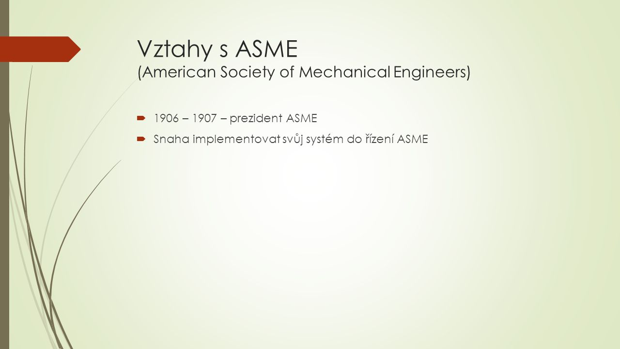 Vztahy s ASME (American Society of Mechanical Engineers)