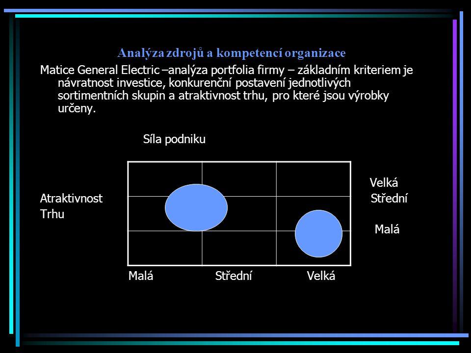 Analýza zdrojů a kompetencí organizace