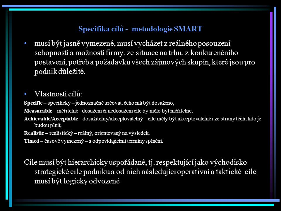 Specifika cílů - metodologie SMART