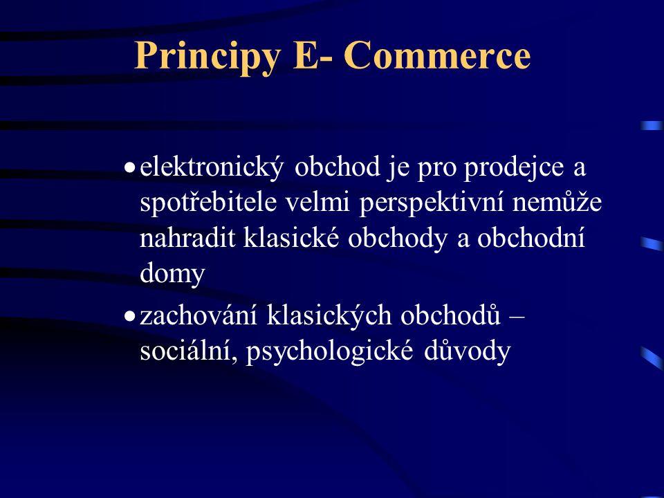 Principy E- Commerce elektronický obchod je pro prodejce a spotřebitele velmi perspektivní nemůže nahradit klasické obchody a obchodní domy.
