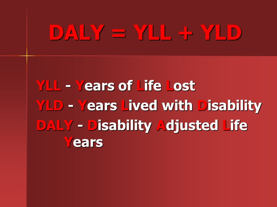 DALY = YLL + YLD YLL - Years of Life Lost