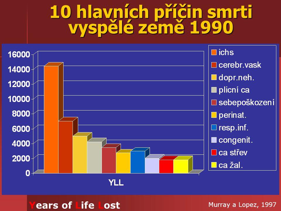 10 hlavních příčin smrti vyspělé země 1990