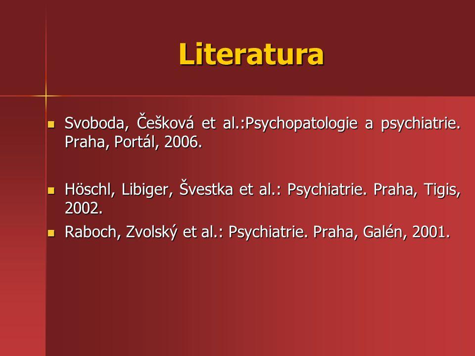 Literatura Svoboda, Češková et al.:Psychopatologie a psychiatrie. Praha, Portál, 2006.