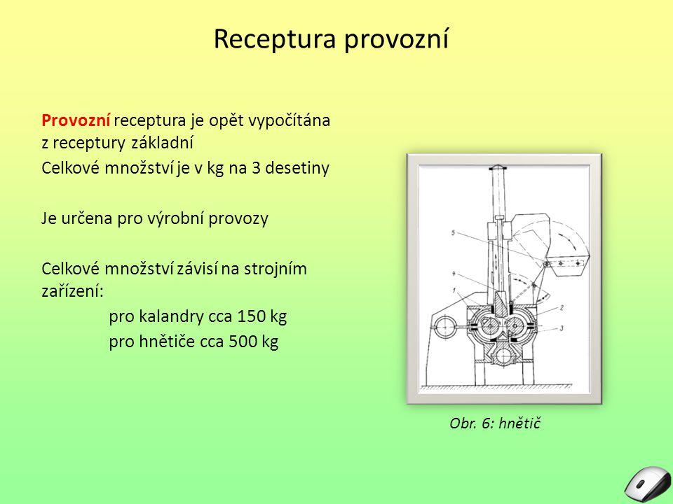 Receptura provozní Provozní receptura je opět vypočítána z receptury základní. Celkové množství je v kg na 3 desetiny.
