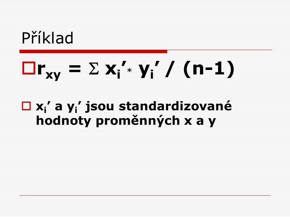 rxy = S xi'* yi' / (n-1) Příklad