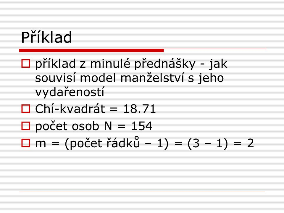 Příklad příklad z minulé přednášky - jak souvisí model manželství s jeho vydařeností. Chí-kvadrát = 18.71.