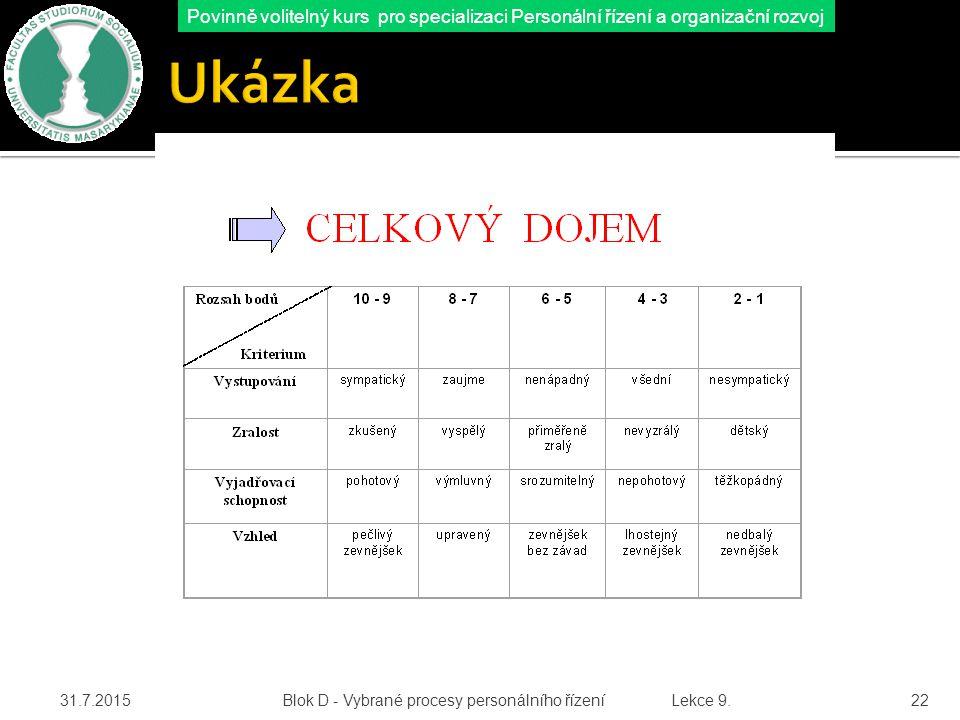 Ukázka 18.4.2017 Blok D - Vybrané procesy personálního řízení Lekce 9.
