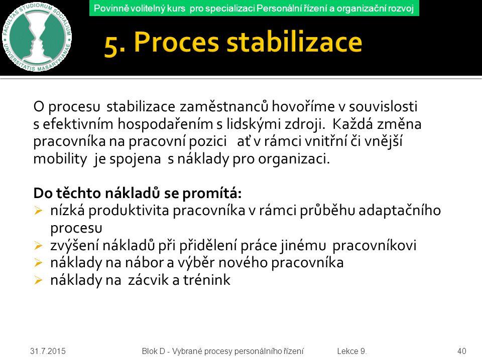 5. Proces stabilizace O procesu stabilizace zaměstnanců hovoříme v souvislosti. s efektivním hospodařením s lidskými zdroji. Každá změna.