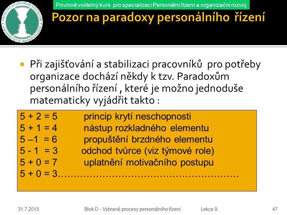 Pozor na paradoxy personálního řízení