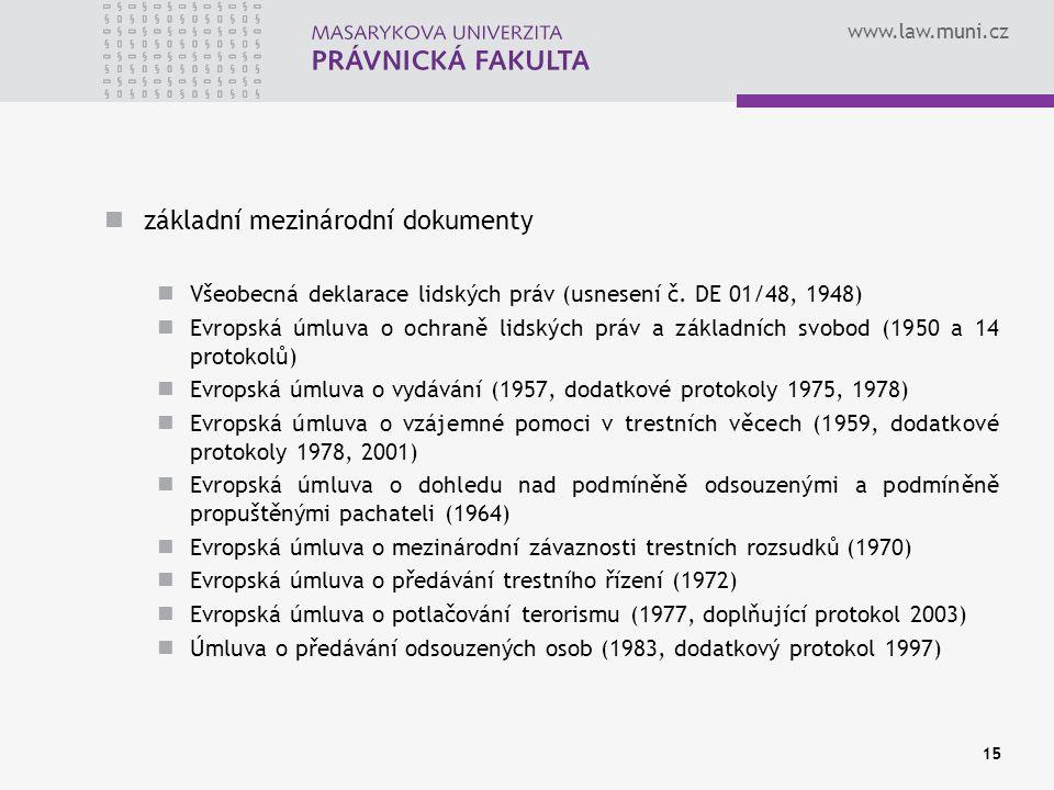 základní mezinárodní dokumenty