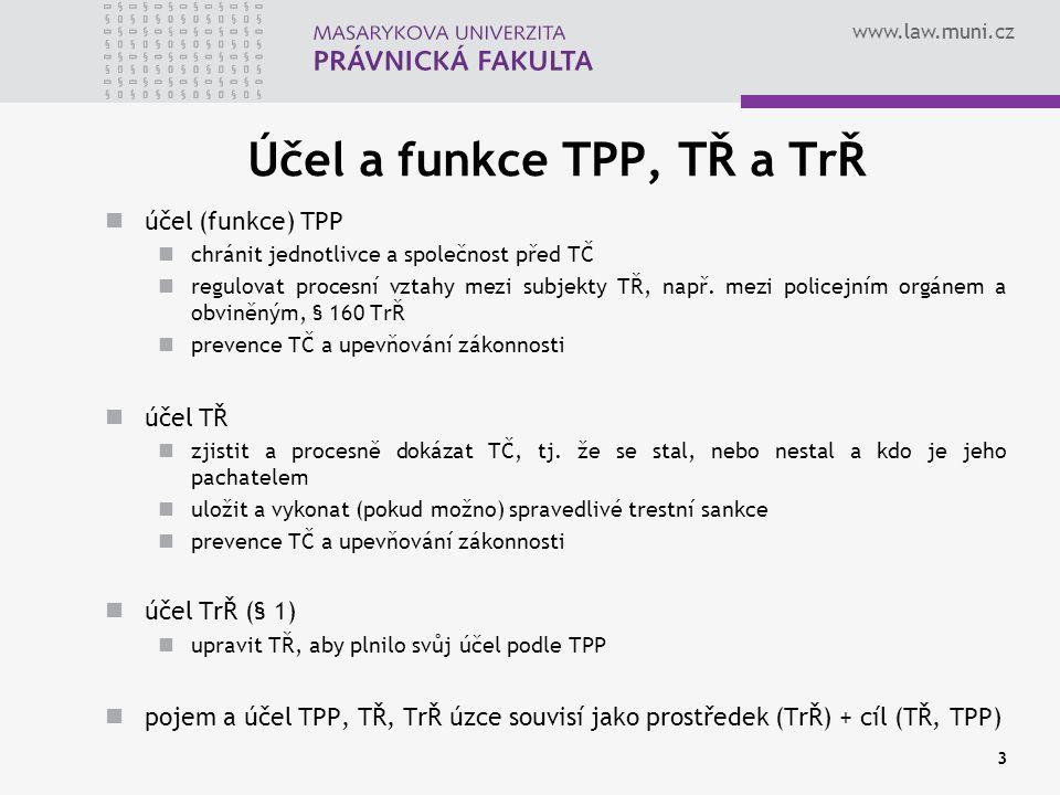 Účel a funkce TPP, TŘ a TrŘ
