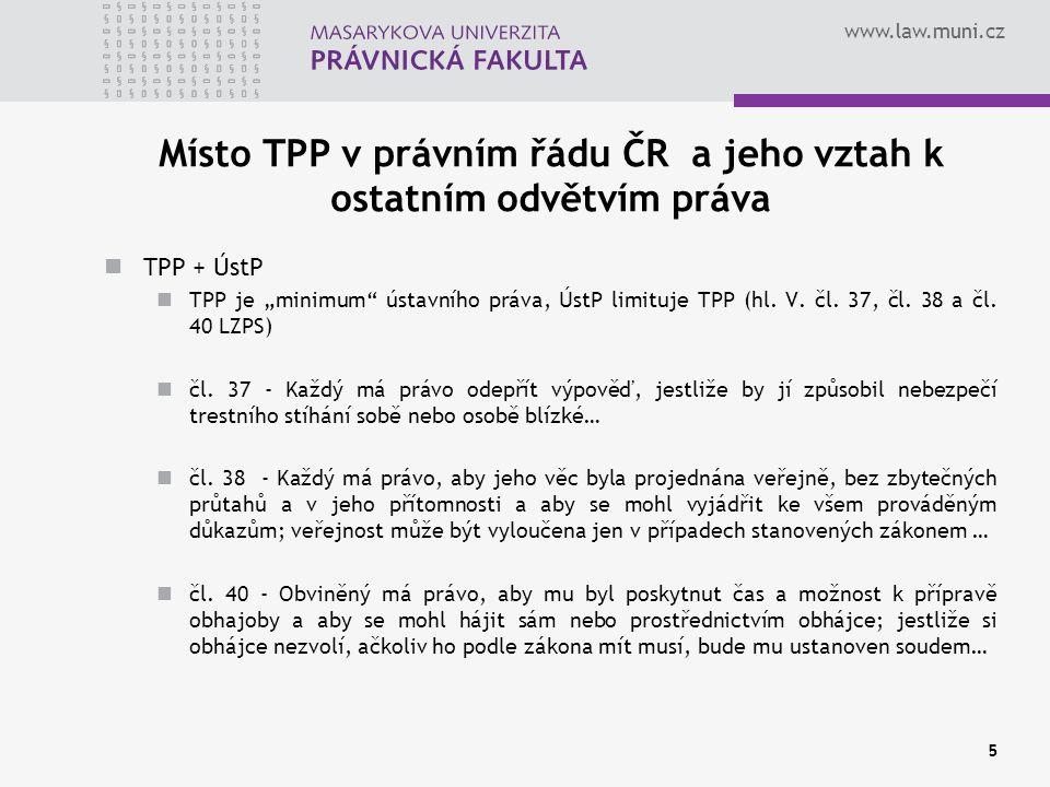 Místo TPP v právním řádu ČR a jeho vztah k ostatním odvětvím práva