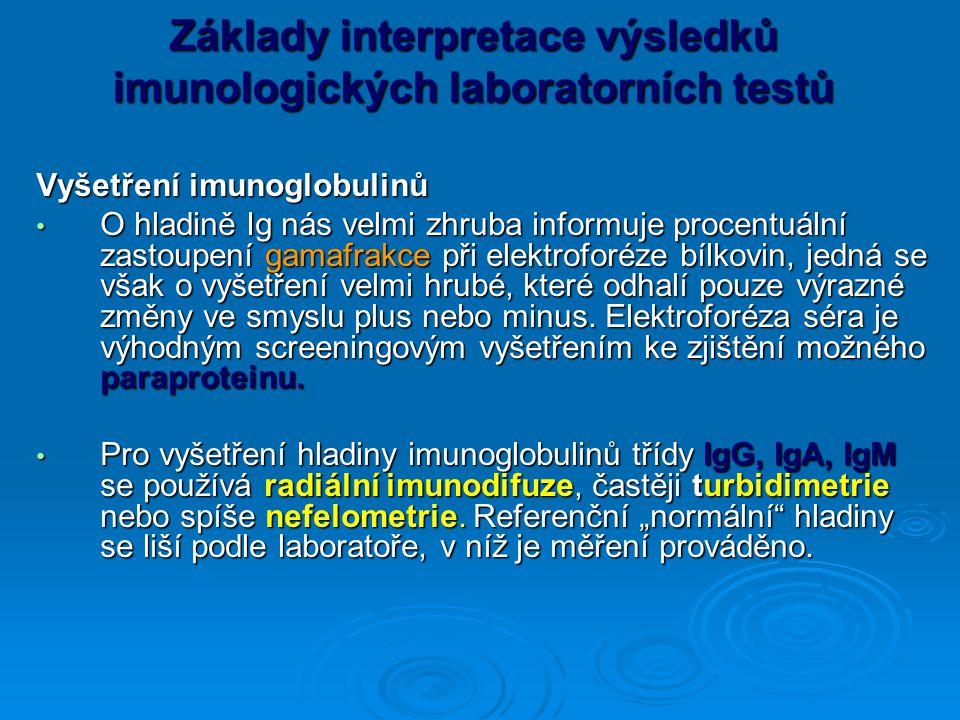 Základy interpretace výsledků imunologických laboratorních testů