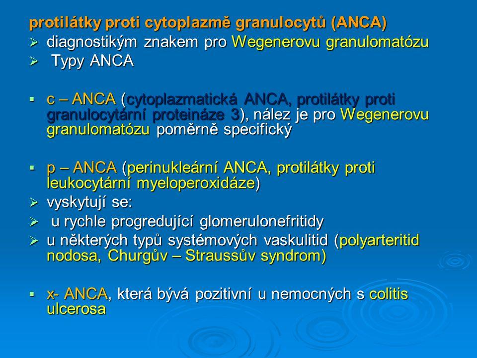 protilátky proti cytoplazmě granulocytů (ANCA)