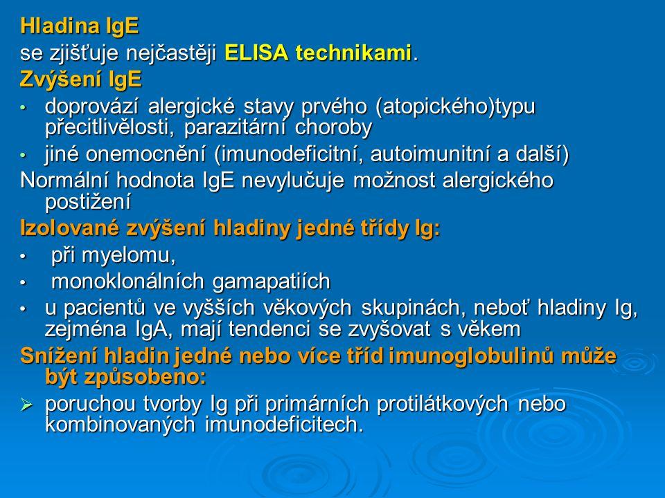 Hladina IgE se zjišťuje nejčastěji ELISA technikami. Zvýšení IgE.