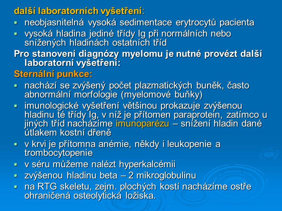 další laboratorních vyšetření: