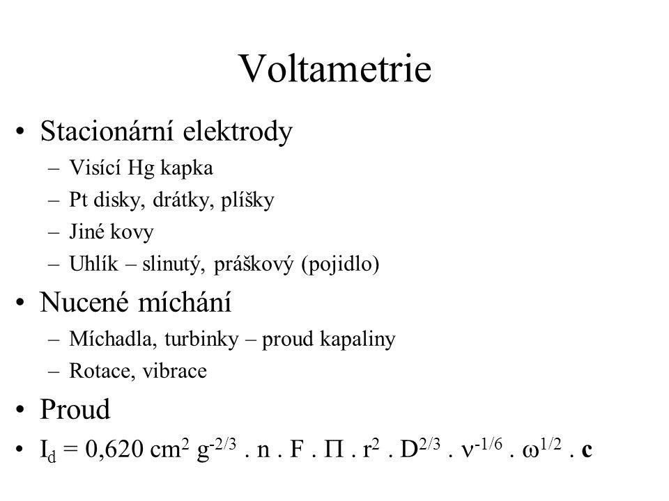 Voltametrie Stacionární elektrody Nucené míchání Proud