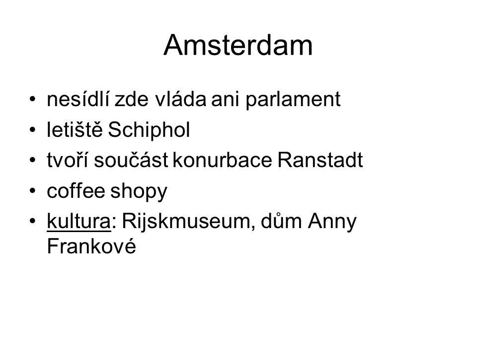 Amsterdam nesídlí zde vláda ani parlament letiště Schiphol