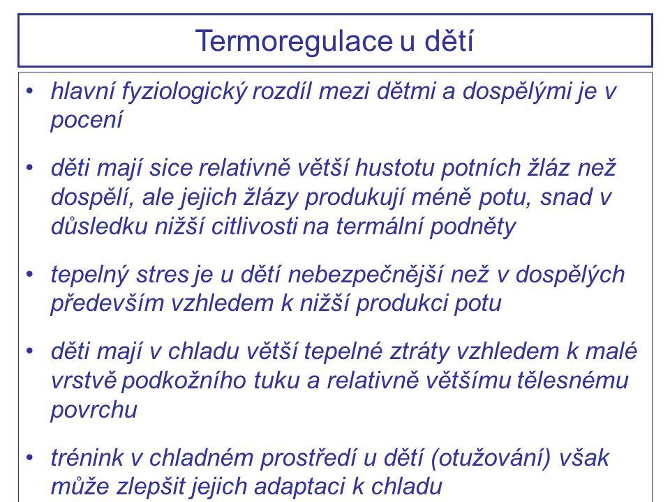 Termoregulace u dětí hlavní fyziologický rozdíl mezi dětmi a dospělými je v pocení.