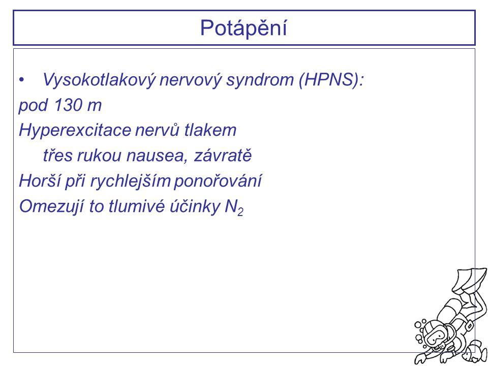 Potápění Vysokotlakový nervový syndrom (HPNS): pod 130 m