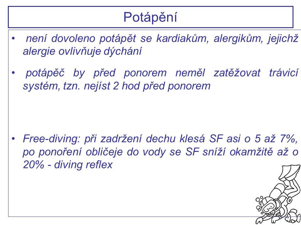 Potápění není dovoleno potápět se kardiakům, alergikům, jejichž alergie ovlivňuje dýchání.